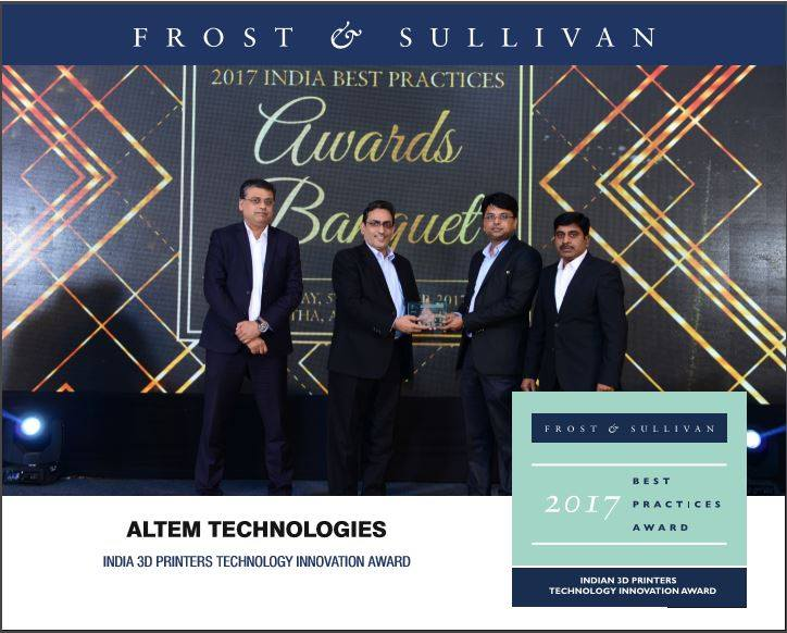 "Altem receives Frost & Sullivan's 2017 ""India 3D Printers Technology Innovation Award"" width="